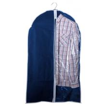 Чехол для одежды синий подвесной с окошком
