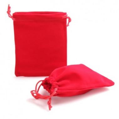 Тканевый мешочек из бархата красный